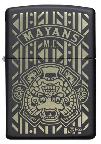 Front of Mayans M.C. Black Matte windproof lighter