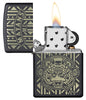 Mayans M.C. Black Matte windproof lighter with lid open and lit