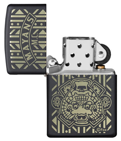 Mayans M.C. Black Matte windproof lighter with lid open and not lit