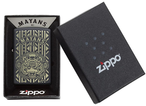 Mayans M.C. Black Matte windproof lighter in packaging
