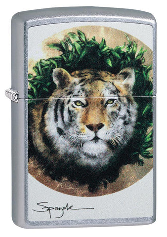 Spazuk Tiger design windproof lighter facing forward at a 3/4 angle