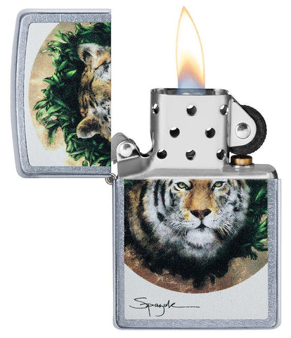 Spazuk Tiger design windproof lighter with its lid open and lit