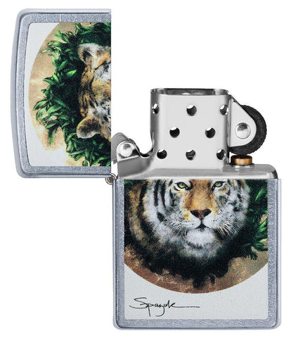 Spazuk Tiger design windproof lighter with its lid open and not lit
