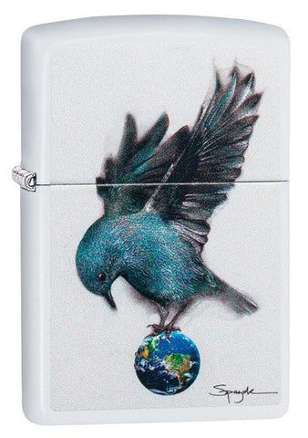 Spazuk Bluebird design white matte windproof lighter facing forward at a 3/4 angle