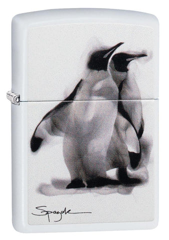 Spazuk Penguin design windproof lighter facing forward at a 3/4 angle
