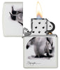 Spazuk Penguin design windproof lighter with its lid open and lit