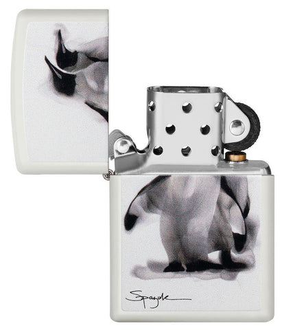 Spazuk Penguin design windproof lighter with its lid open and not lit