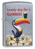 Guinness Street Chrome windproof lighter standing at a 3/4 angle, facing forward