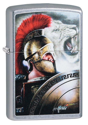 Mazzi Roman Street Chrome windproof lighter facing forward at a 3/4 angle