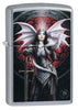 Anne Stokes Dragon Warrior Street Chrome windproof lighter facing forward at a 3/4 angle