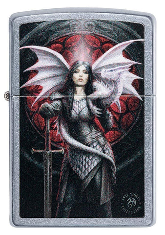 Front of Anne Stokes Dragon Warrior Street Chrome windproof lighter