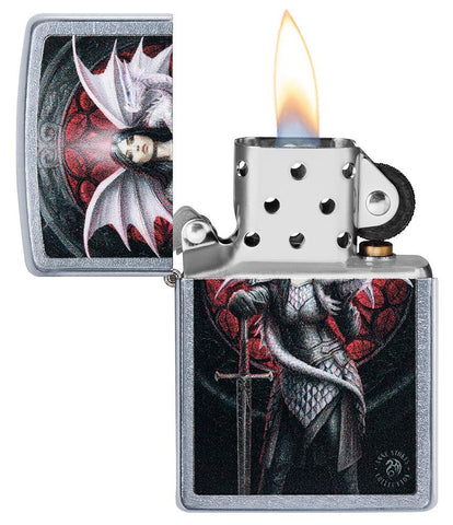 Anne Stokes Dragon Warrior Street Chrome windproof lighter with its lid open and lit