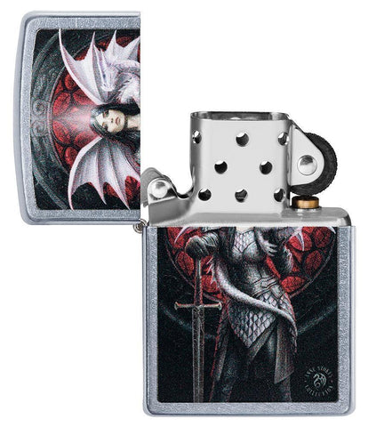 Anne Stokes Dragon Warrior Street Chrome windproof lighter with its lid open and not lit