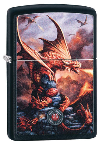 Anne Stokes Dragon design Black Matte windproof lighter facing forward at a 3/4 angle