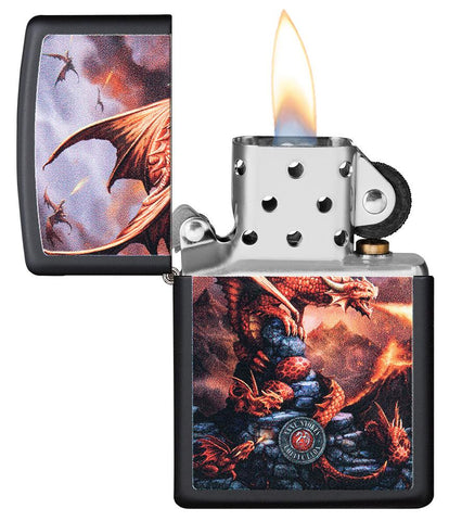 Anne Stokes Dragon design Black Matte windproof lighter with its lid open and lit