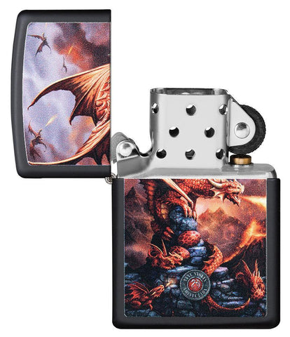 Anne Stokes Dragon design Black Matte windproof lighter with its lid open and not lit