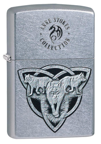 Anne Stokes Wolf design Street Chrome windproof lighter facing forward at a 3/4 angle