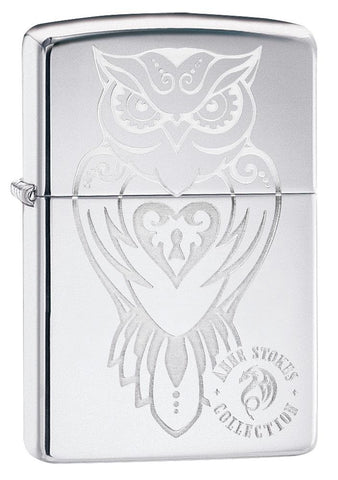 Anne Stokes Owl design High Polish Chrome windproof lighter facing forward at a 3/4 angle