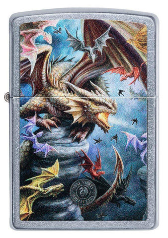 Front of Anne Stokes Dragon Design Street Chrome windproof lighter