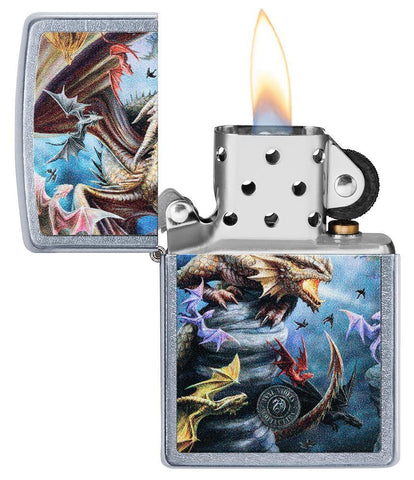 Anne Stokes Dragon Design Street Chrome windproof lighter with its lid open and lit