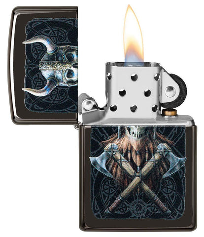 Anne Stokes Viking Skull High Polish Black windproof lighter with lid open and lit