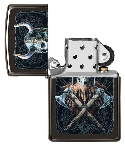 Anne Stokes Viking Skull High Polish Black windproof lighter with lid open and not lit