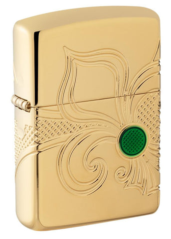 Armor Fleur-de-lis High Polish Gold Plate windproof lighter facing forward at a 3/4 angle