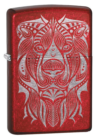 Lion Tattoo Design Candy Apple Red Windproof Lighter facing forward at a 3/4 angle
