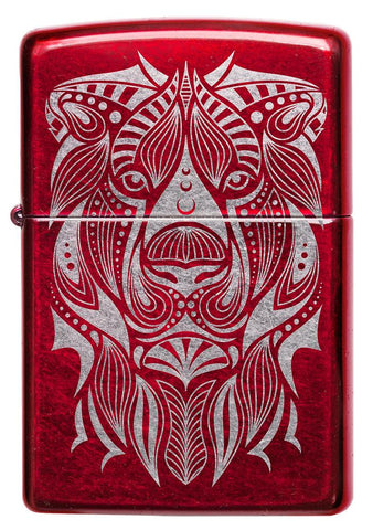 Front of Lion Tattoo Design Candy Apple Red Windproof Lighter
