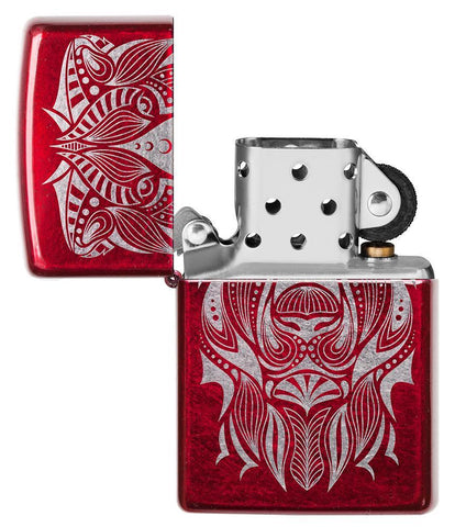 Lion Tattoo Design Candy Apple Red Windproof Lighter with it lid open and not lit