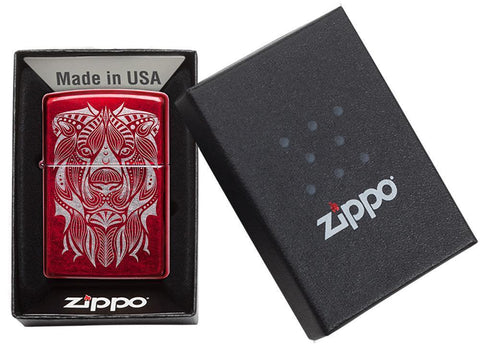 Lion Tattoo Design Candy Apple Red Windproof Lighter in packaging