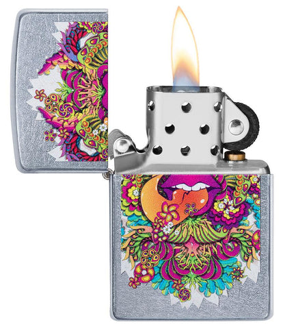 Psychedelic Lip Design Street Chrome Lighter with its lid open and lit