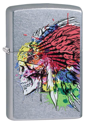 Skull with Headdress Design Street Chrome Windproof Lighter facing forward at a 3/4 angle