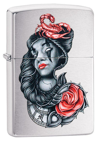 stylised Tattoo Design Brushed Chrome Windproof Lighter facing forward at a 3/4 angle