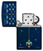 Pixel Game Navy Matte windproof lighter with its lid open and not lit