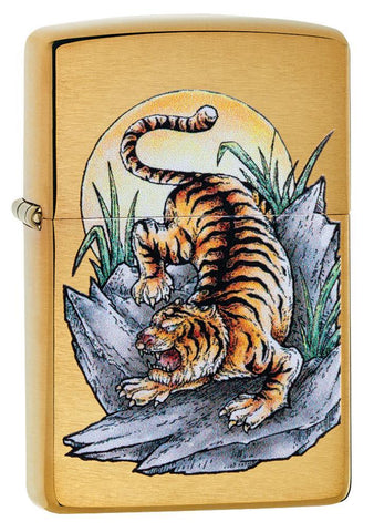 Tiger Tattoo Design Brushed Brass Windproof Lighter facing forward at a 3/4 angle