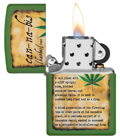 Cannabis Design Moss Green Matte lighter with its lid open and lit