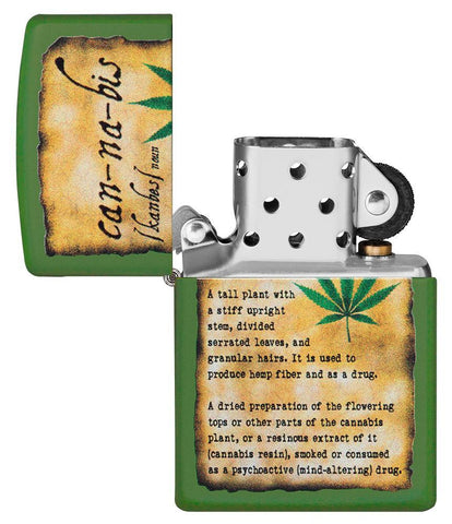Cannabis Design Moss Green Matte lighter with its lid open and not lit