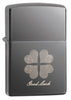 Good Luck Design Black Ice Windproof Lighter facing forward at a 3/4 angle