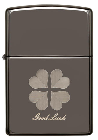Front of Good Luck Design Black Ice Windproof Lighter