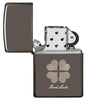 Good Luck Design Black Ice Windproof Lighter with its lid open and not lit