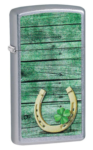 Slim Horseshoe Street Chrome windproof lighter facing forward at a 3/4 angle
