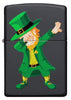 Front of Dabbing Leprechaun Black Matte Windproof Lighter