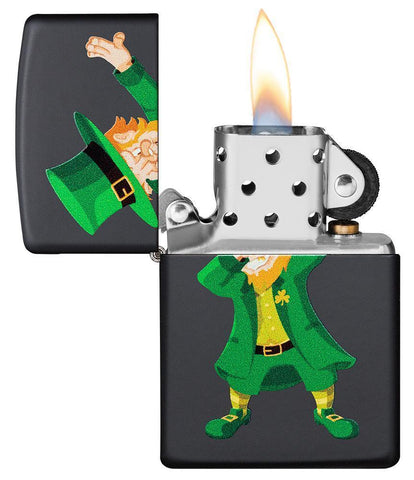 Dabbing Leprechaun Black Matte Windproof Lighter with its lid open and lit