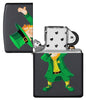 Dabbing Leprechaun Black Matte Windproof Lighter with its lid open and not lit