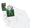 Dabbing Leprechaun Black Matte Windproof Lighter in hand and lit