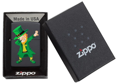 Dabbing Leprechaun Black Matte Windproof Lighter in packaging