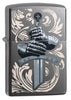 Knights Glove Design Black Ice Windproof Lighter facing forward at a 3/4 angle