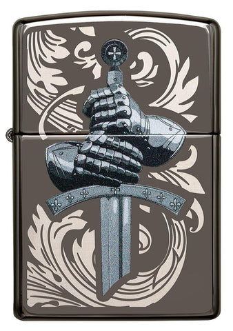 Front of Knights Glove Design Black Ice Windproof Lighter