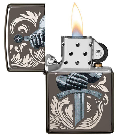 Knights Glove Design Black Ice Windproof Lighter with its lid open and lit